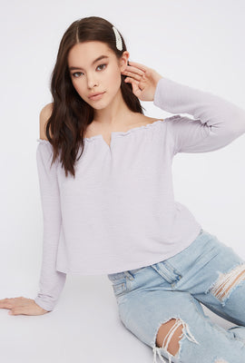 Off The Shoulder Notch Neck Long Sleeve Top