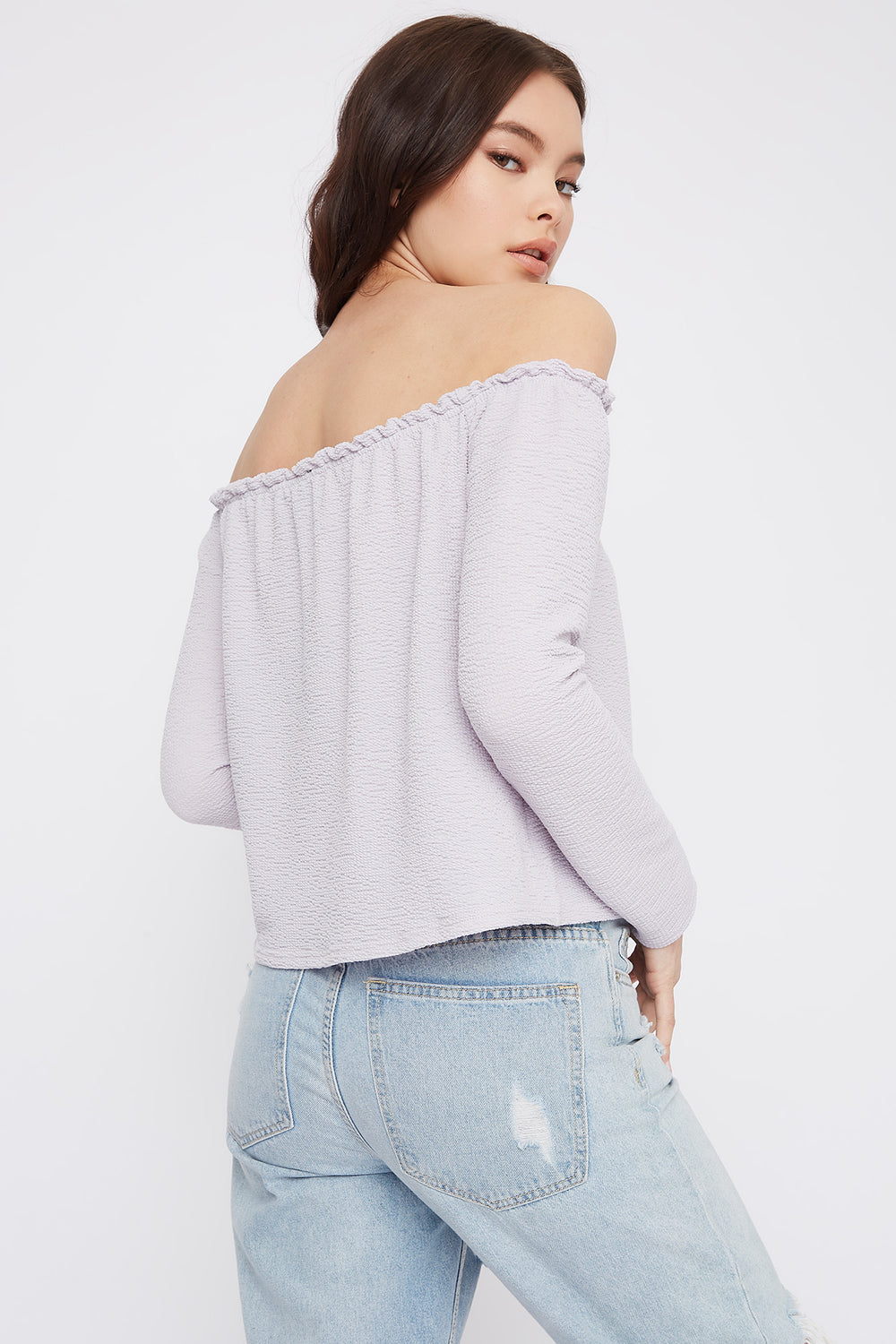Off The Shoulder Notch Neck Long Sleeve Top Lilac