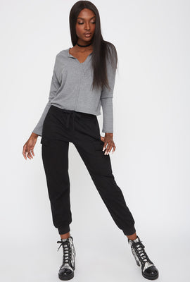 Thermal V-Neck Cropped Long Sleeve