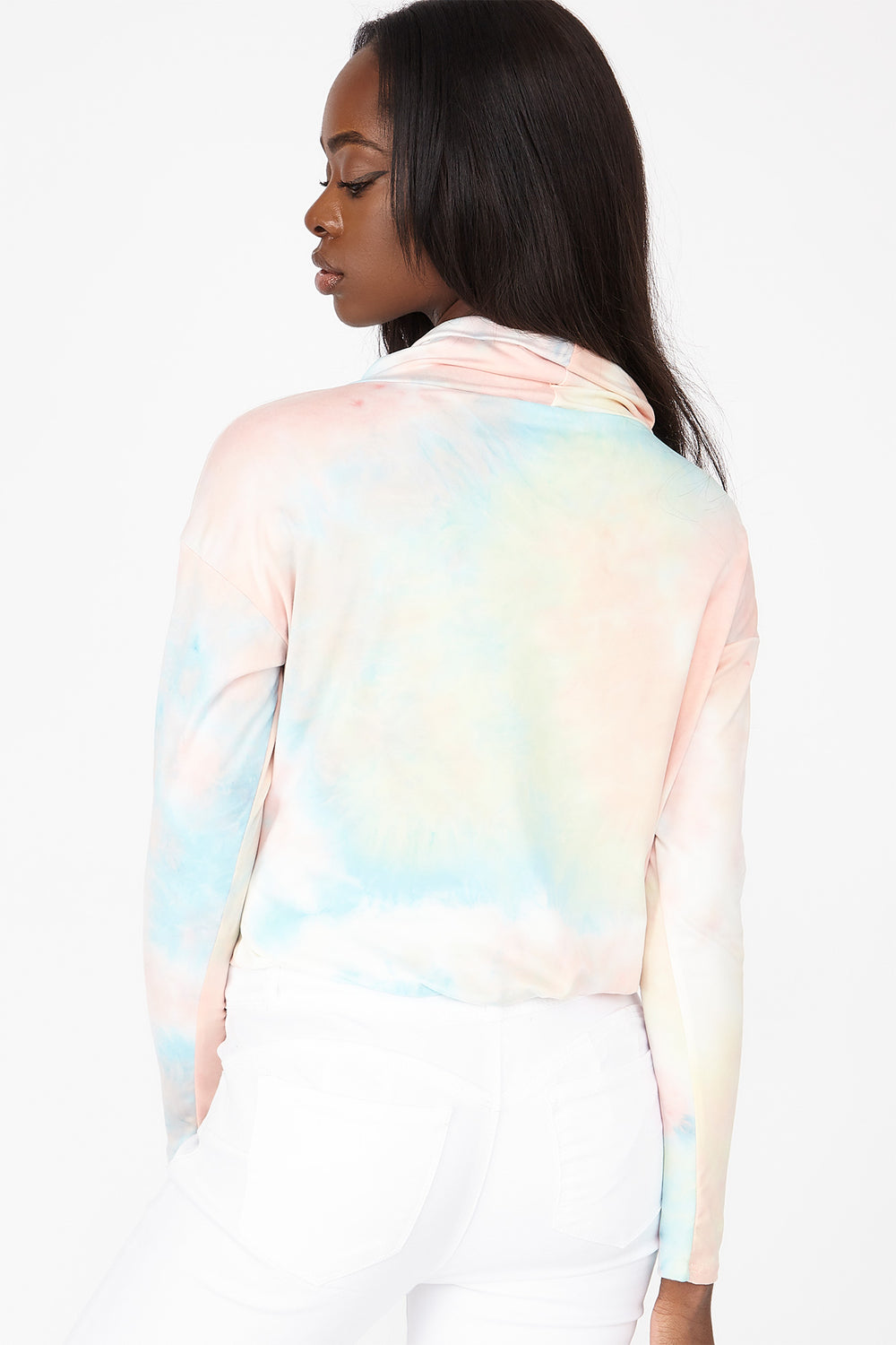 Soft Tie Dye Funnel Neck Long Sleeve Top Sage