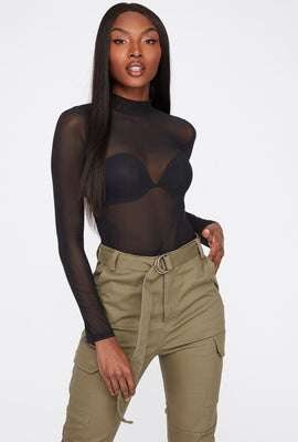 Sheer Mesh Cropped Turtleneck Long Sleeve