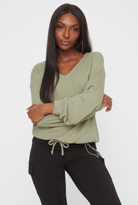 Ribbed V-Neck Drawstring Waist Sweater