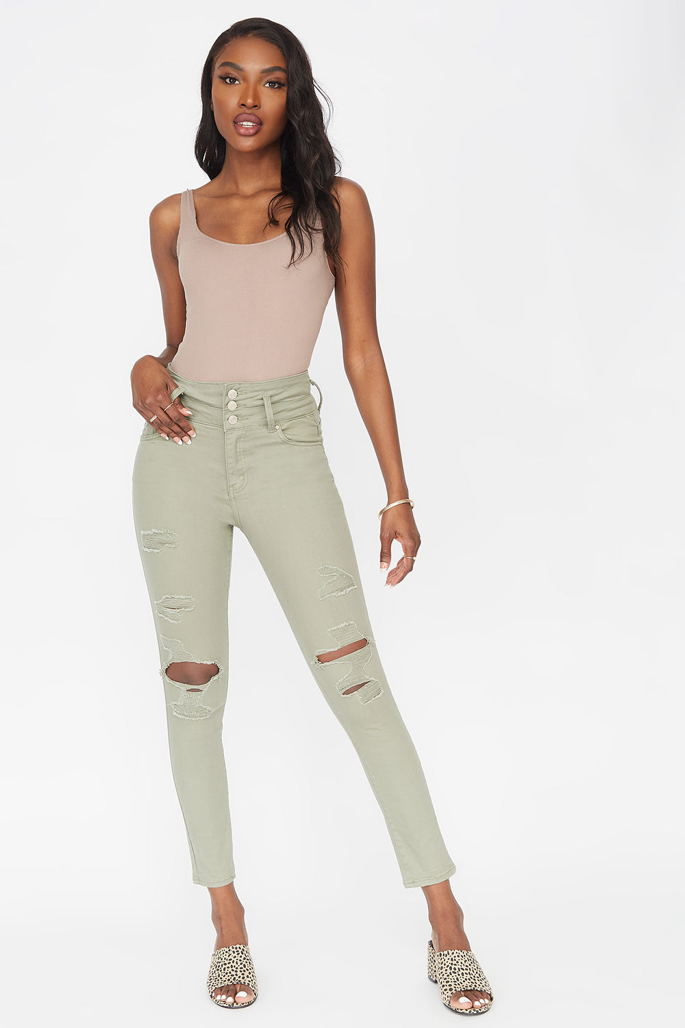 Refuge Ibiza 3-Tier High-Rise Push-Up Distressed Skinny Jean Dark Green