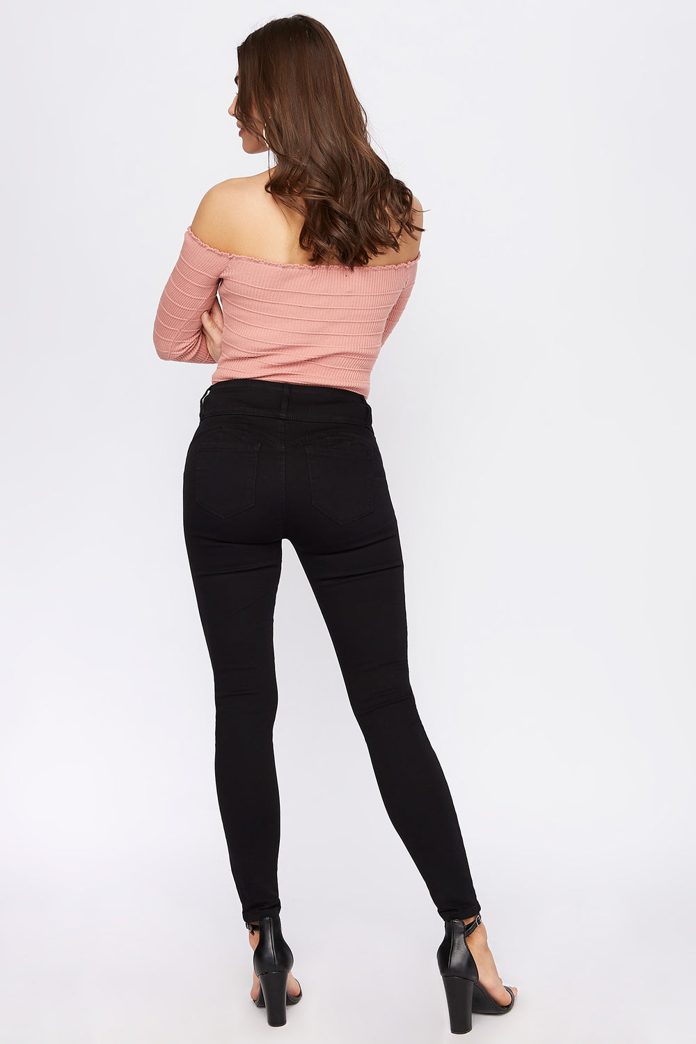 Butt, I Love You 3-Tier High Rise Push-Up Skinny Jean Black