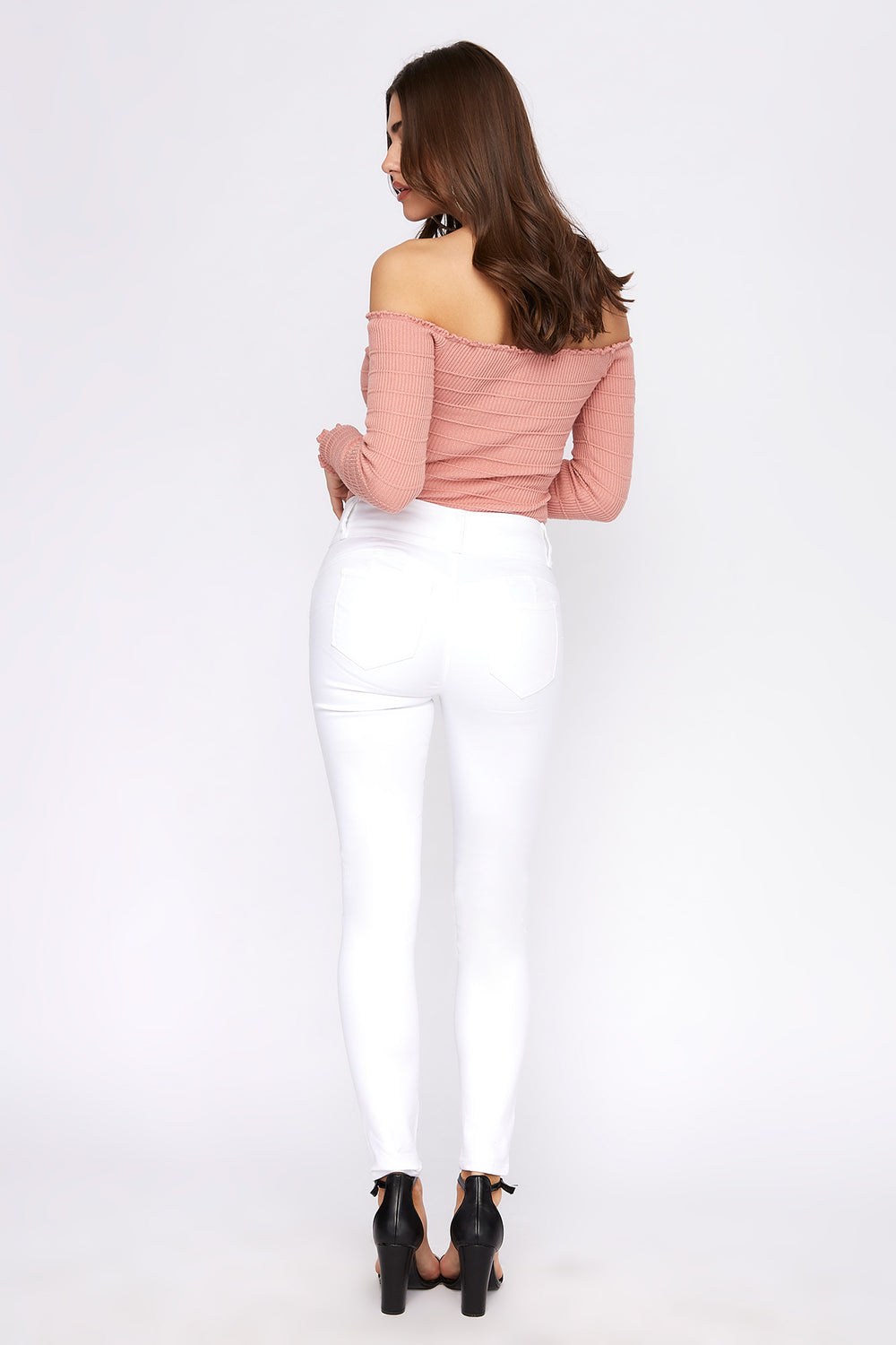 Butt, I Love You 3-Tier High Rise Push-Up Skinny Jean White