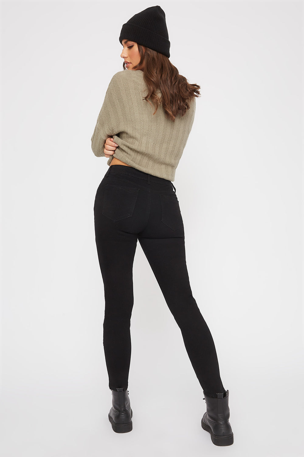 Distressed High-Rise Stretch Push-Up Skinny Jean Black