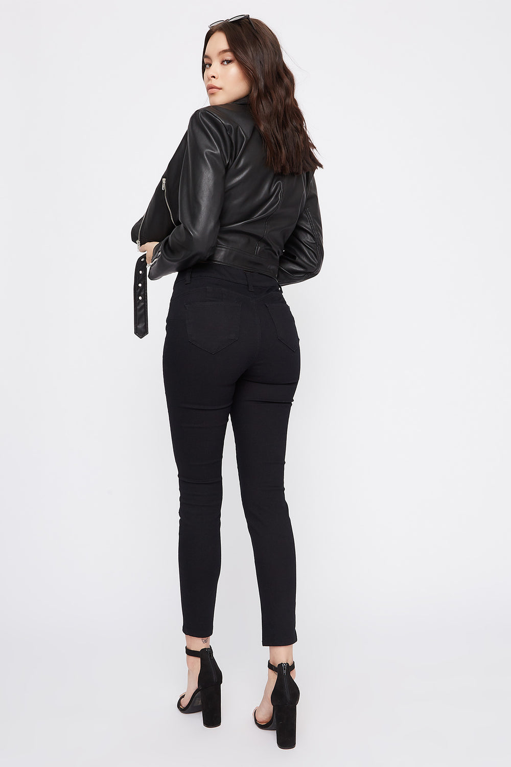 Butt, I Love You Solid High-Rise Push-Up Skinny Jean Black