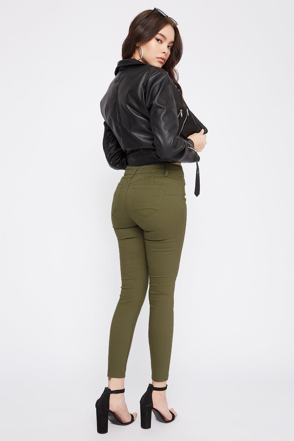 Butt, I Love You Solid High-Rise Push-Up Skinny Jean Dark Green