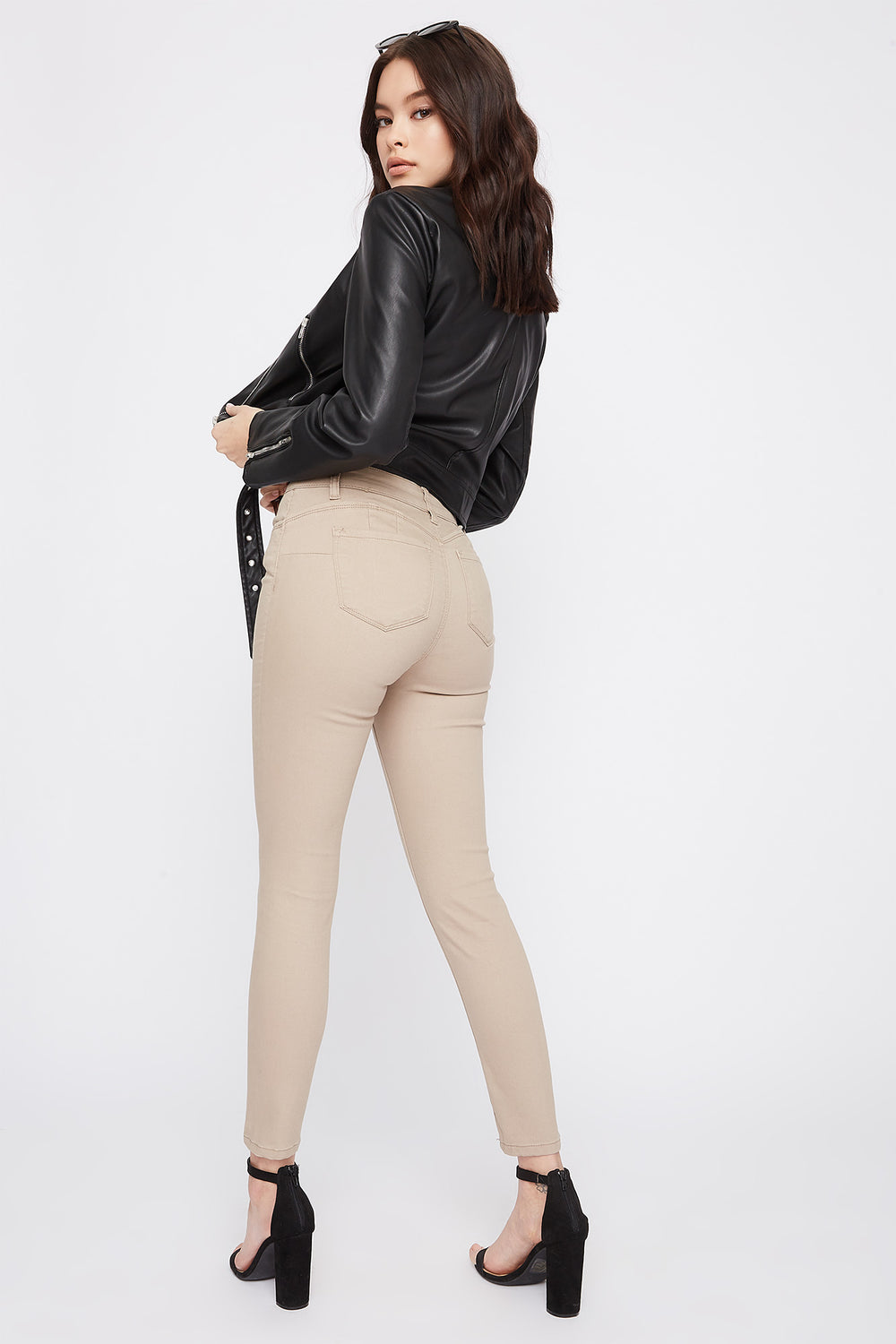 Butt, I Love You Solid High-Rise Push-Up Skinny Jean Khaki
