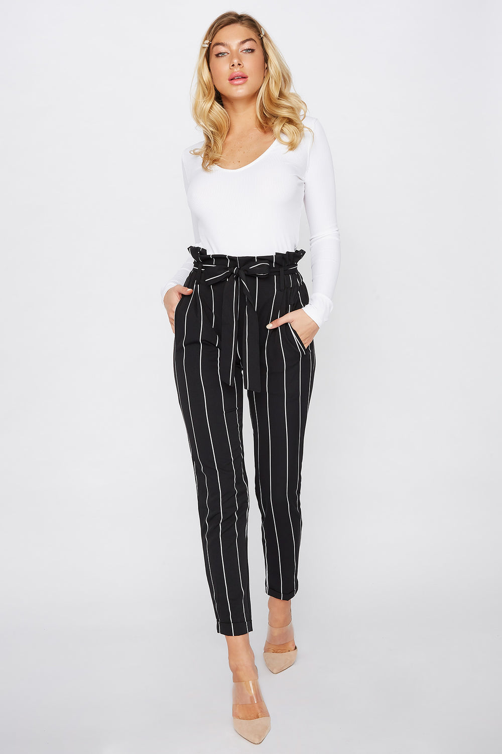 Cuffed Self Belted Paperbag Pant Black With White