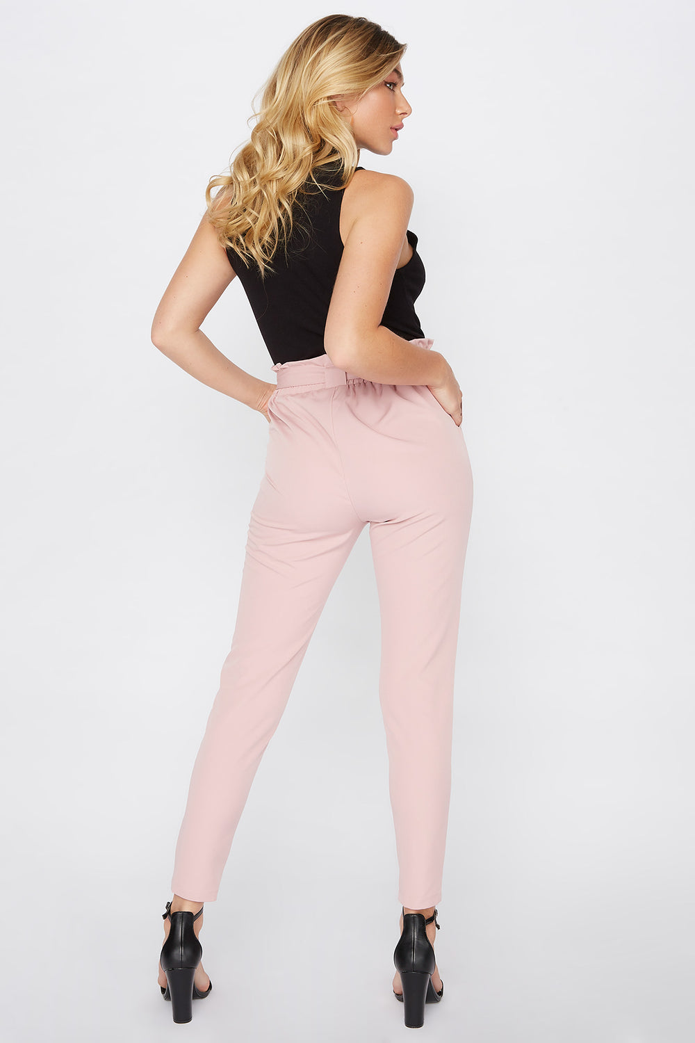 Buckle Belted Paperbag Pant Light Pink
