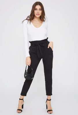 Self Belted Pull-On Paperbag Pant