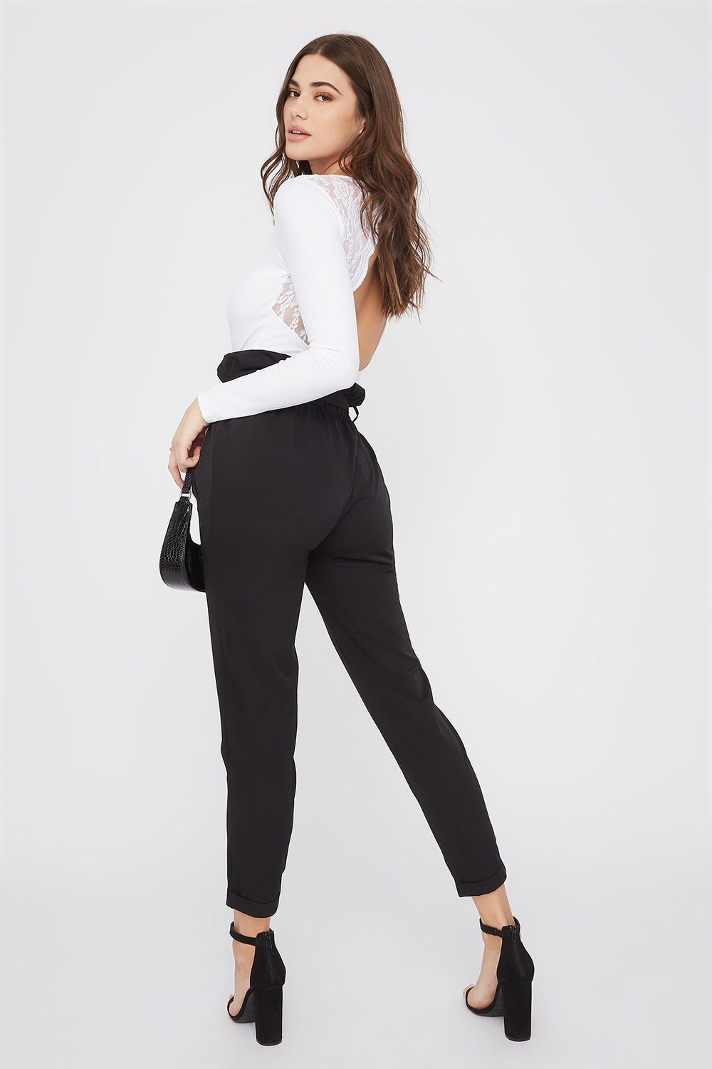 Self Belted Pull-On Paperbag Pant Black