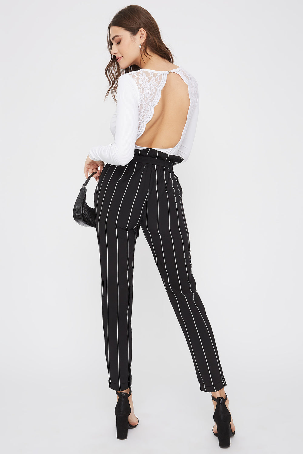 Self Belted Pull-On Paperbag Pant Black With White
