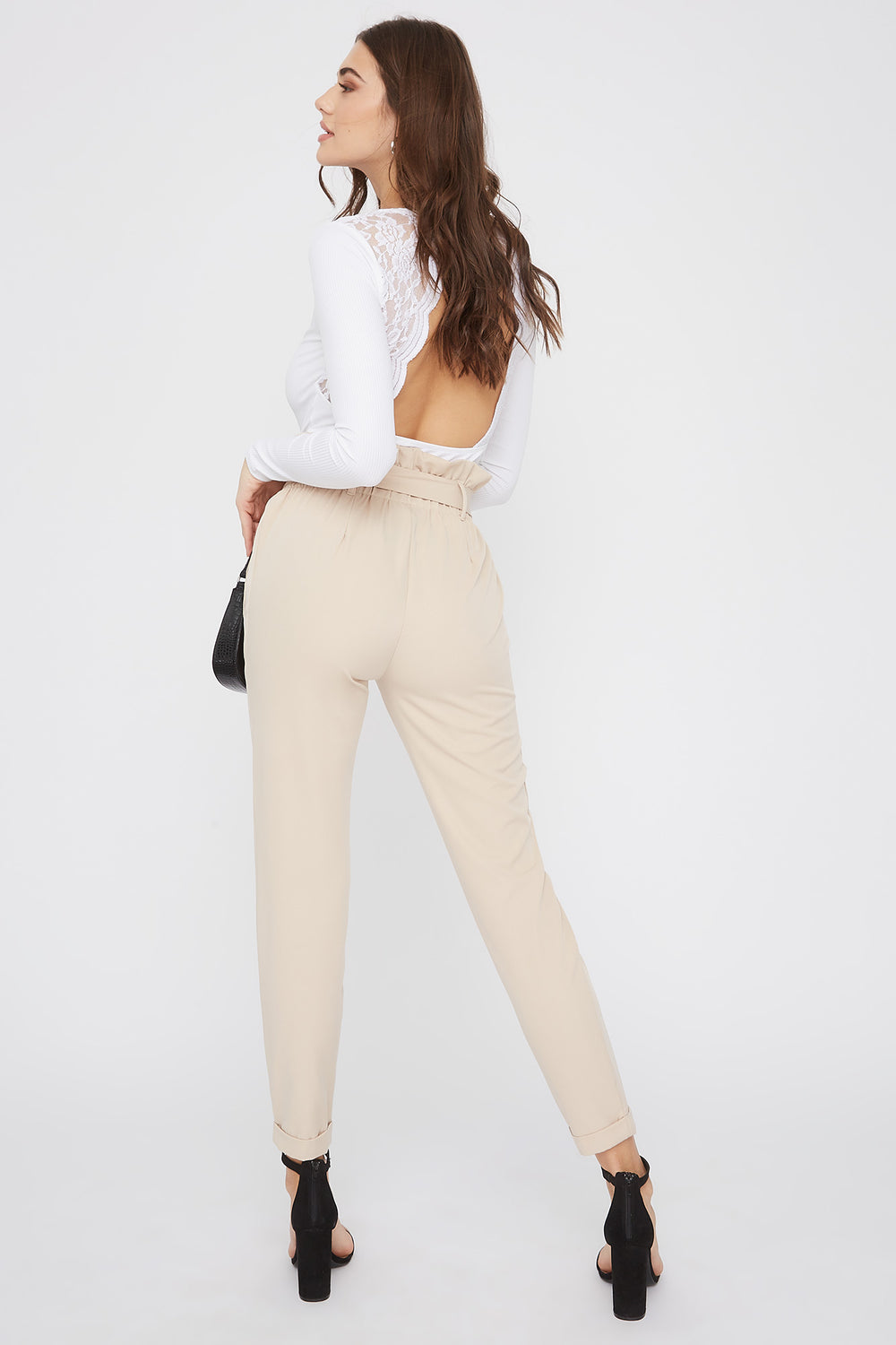 Self Belted Pull-On Paperbag Pant Taupe