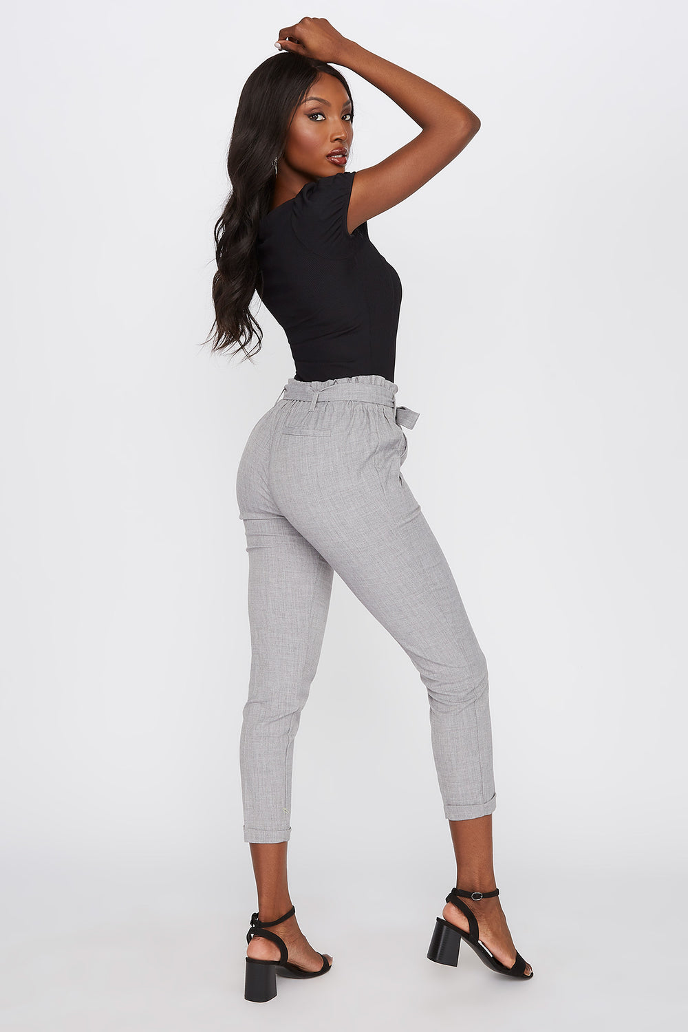 Pull-On Paperbag Self Tie Pant Heather Grey