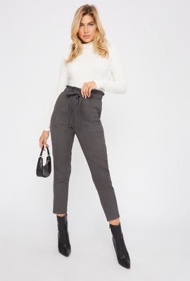 Belted Paperbag Cropped Pant