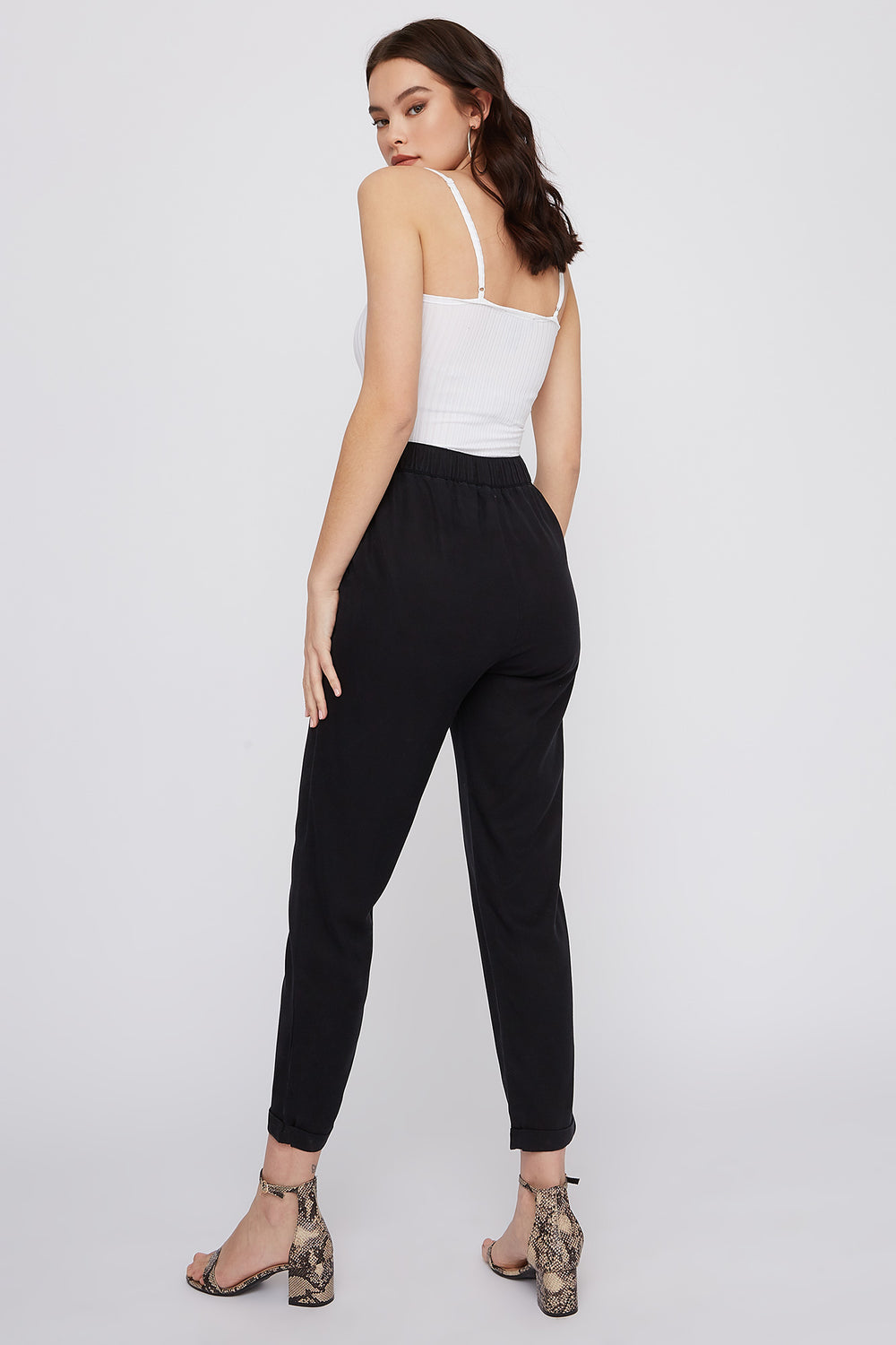 Self-Tie Roll-Up Pant Black
