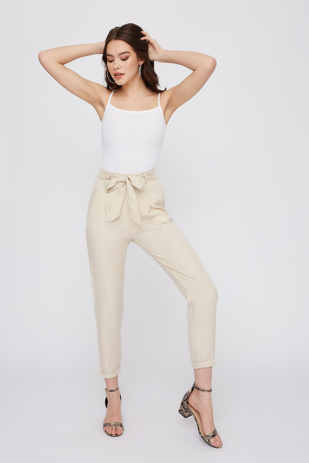 Self-Tie Roll-Up Pant Off White