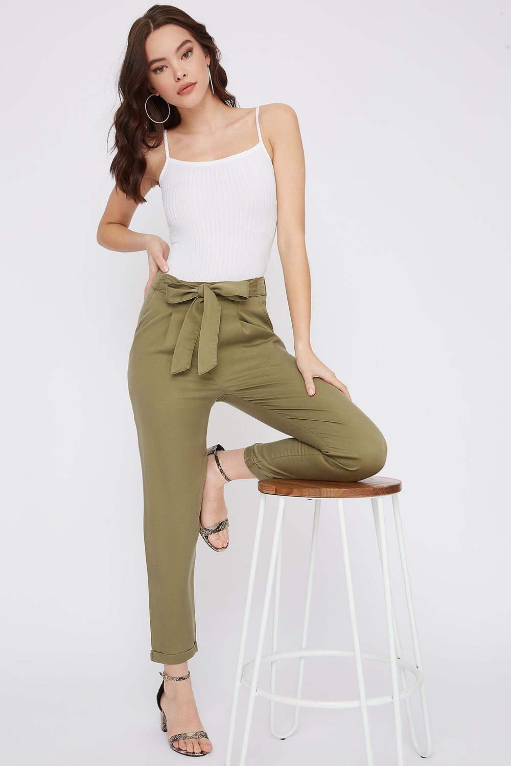 Self-Tie Roll-Up Pant Dark Green