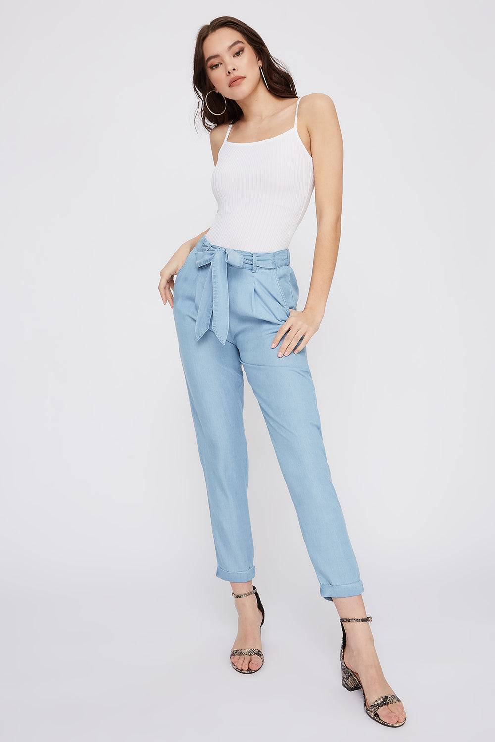 Self-Tie Roll-Up Pant Light Denim Blue