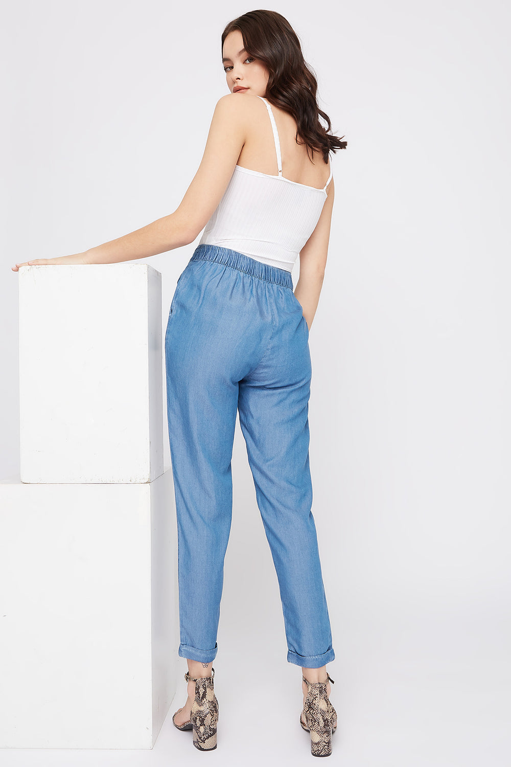 Self-Tie Roll-Up Pant Medium Blue