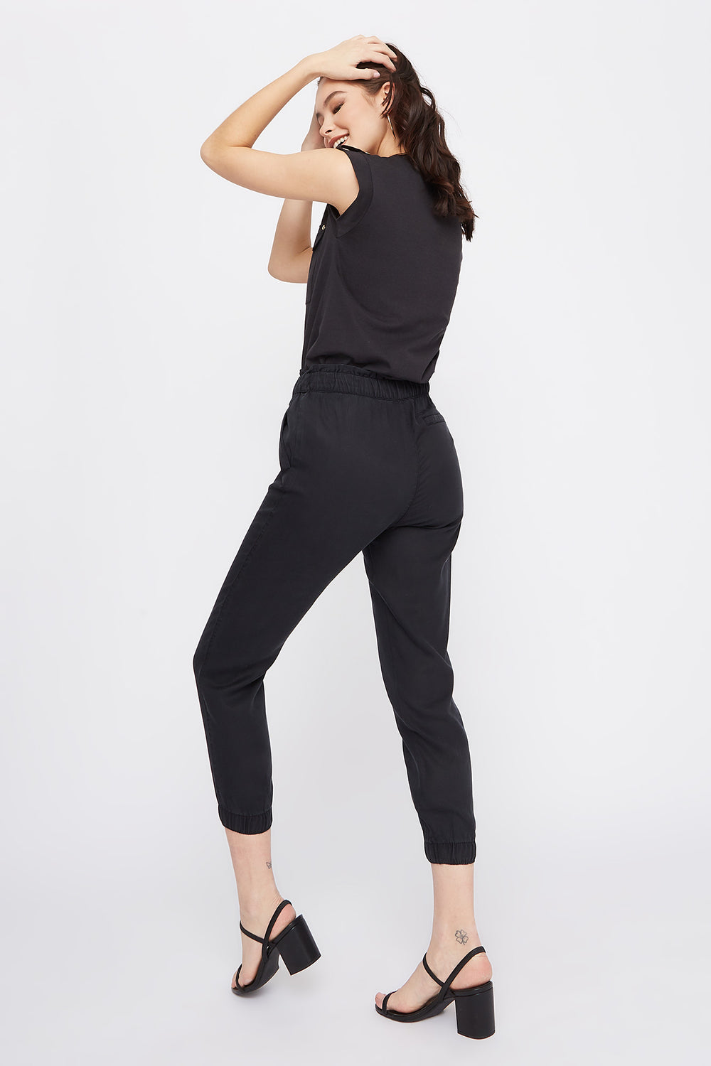 High-Rise Drawstring Paperbag Jogger Black