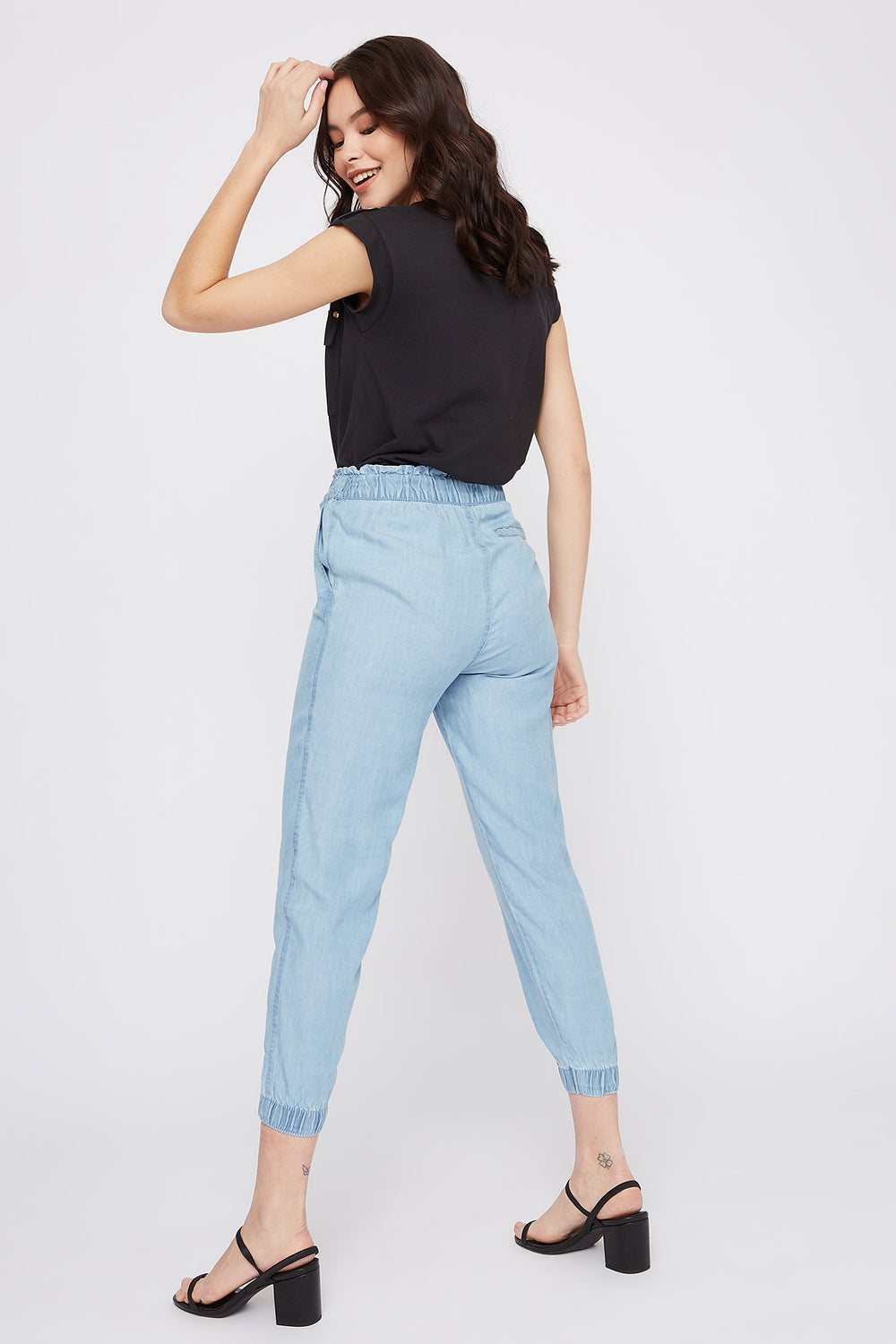 High-Rise Drawstring Paperbag Jogger Light Denim Blue