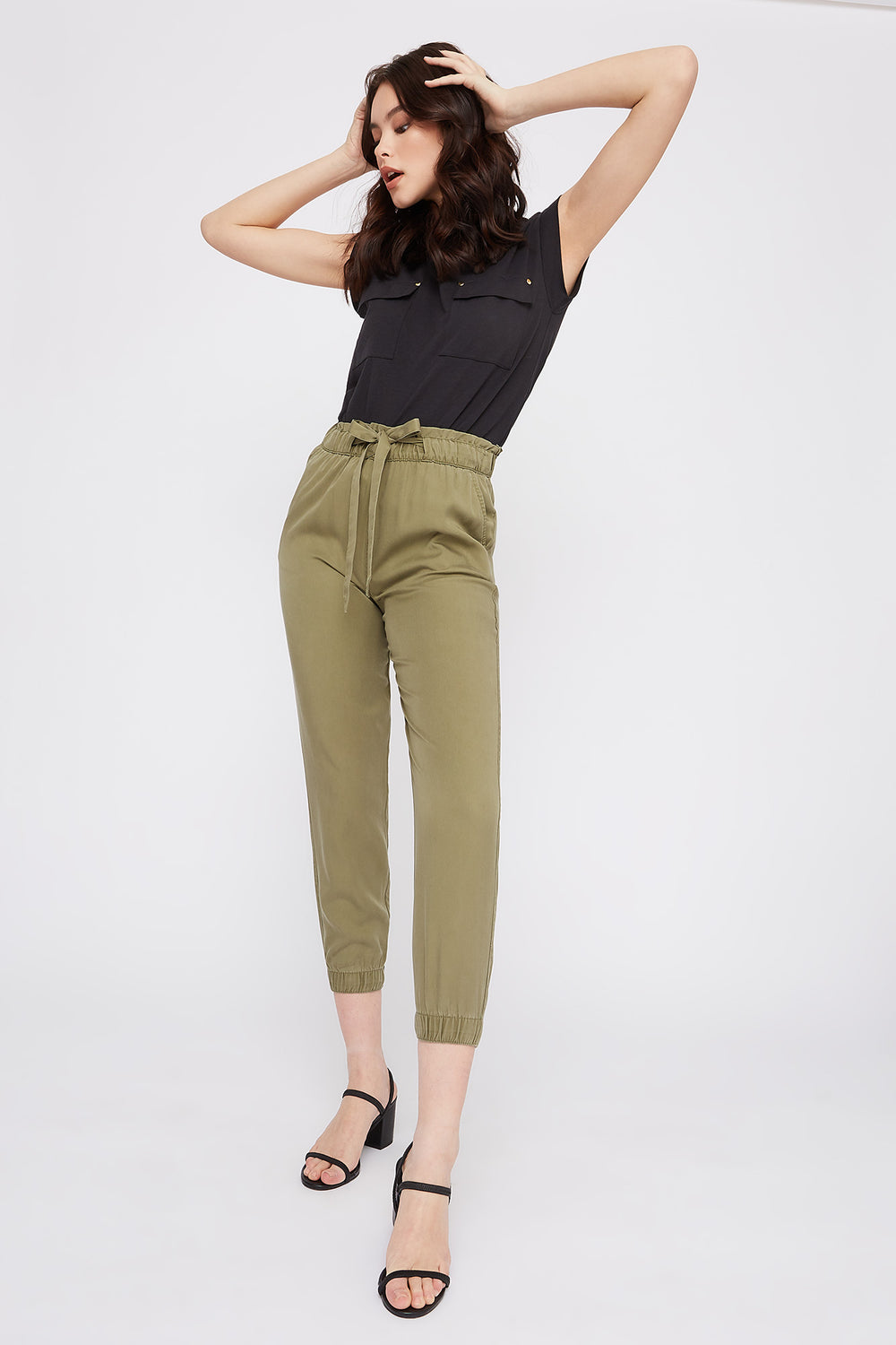 High-Rise Drawstring Paperbag Jogger Dark Green