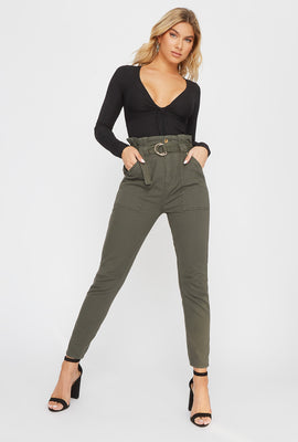 Twill Belted High-Rise Paperbag Pant