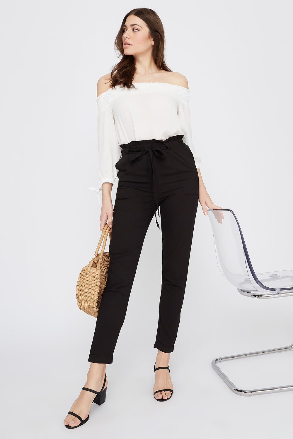High-Rise Self-Tie Paperbag Cuffed Pant Black