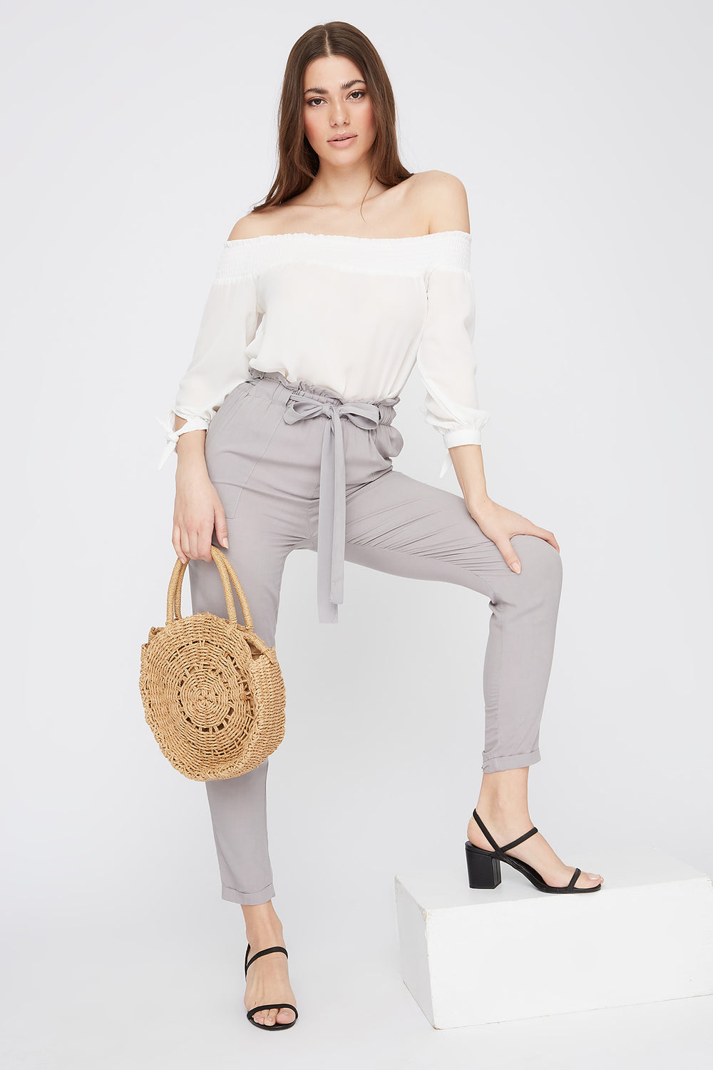 High-Rise Self-Tie Paperbag Cuffed Pant Light Grey