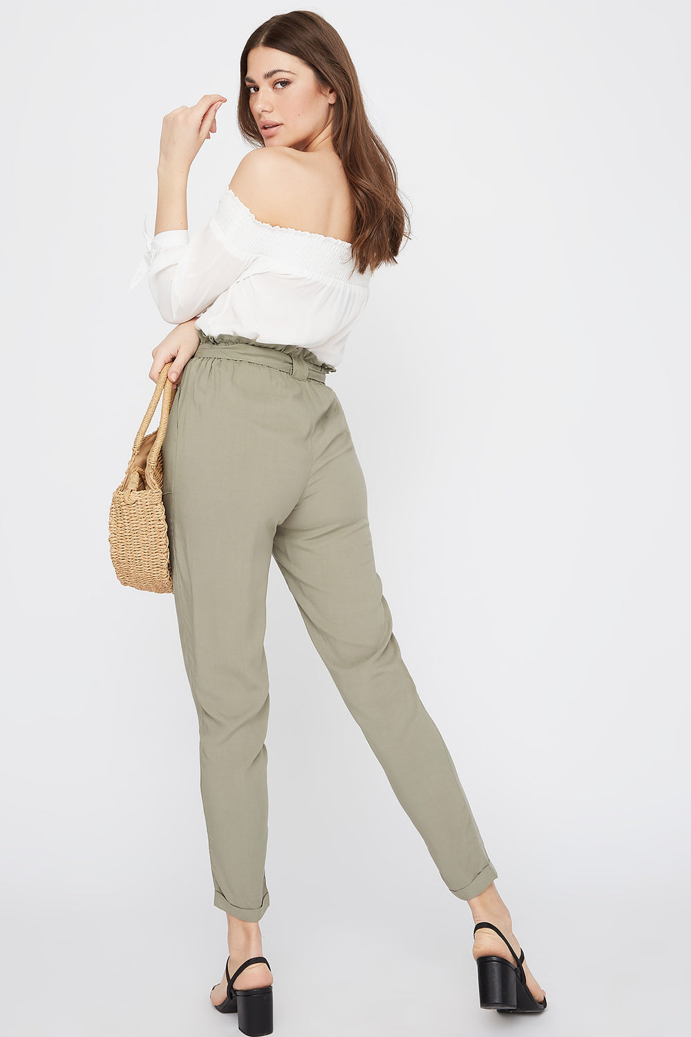 High-Rise Self-Tie Paperbag Cuffed Pant Dark Green