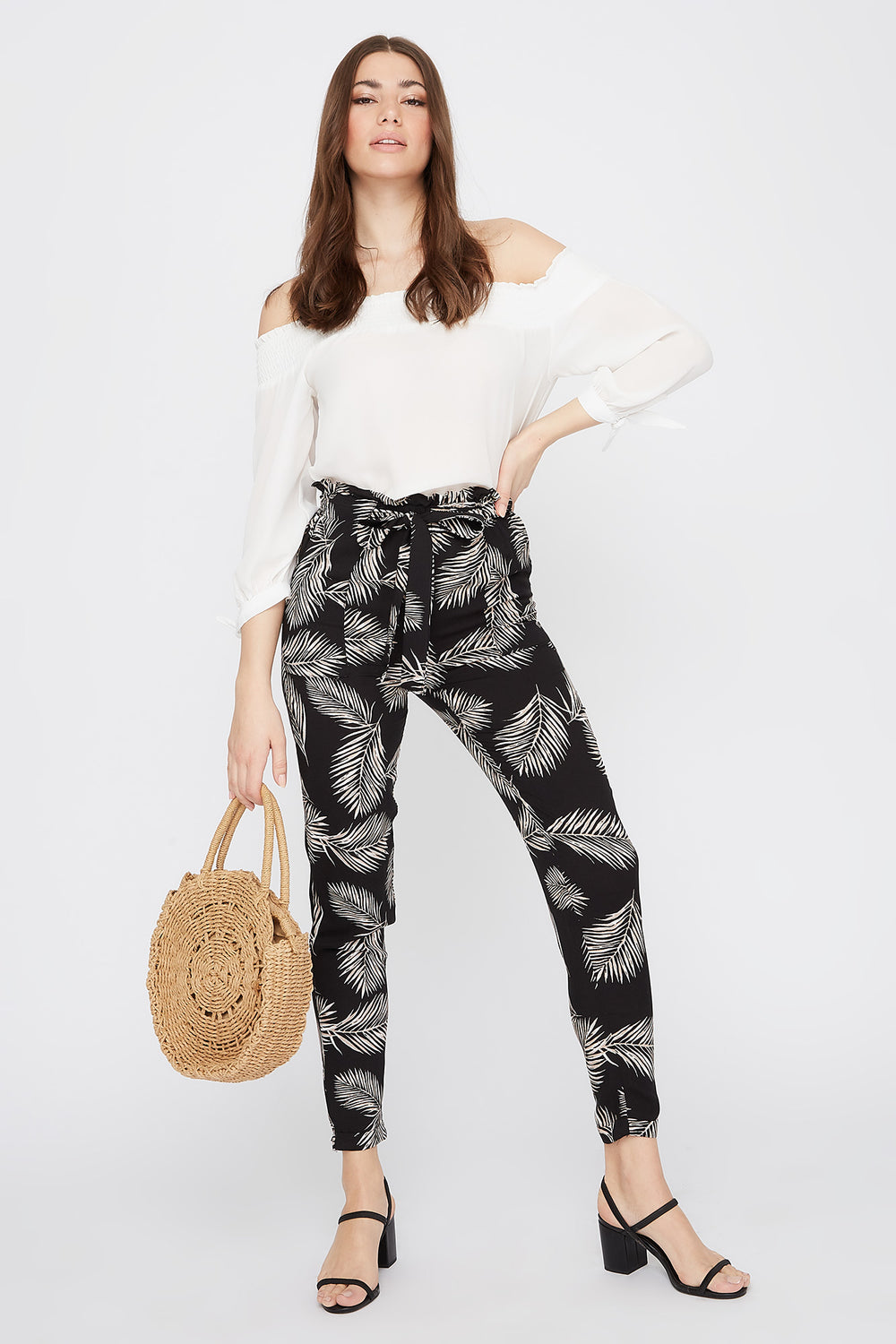 High-Rise Self-Tie Paperbag Cuffed Pant Jet Black