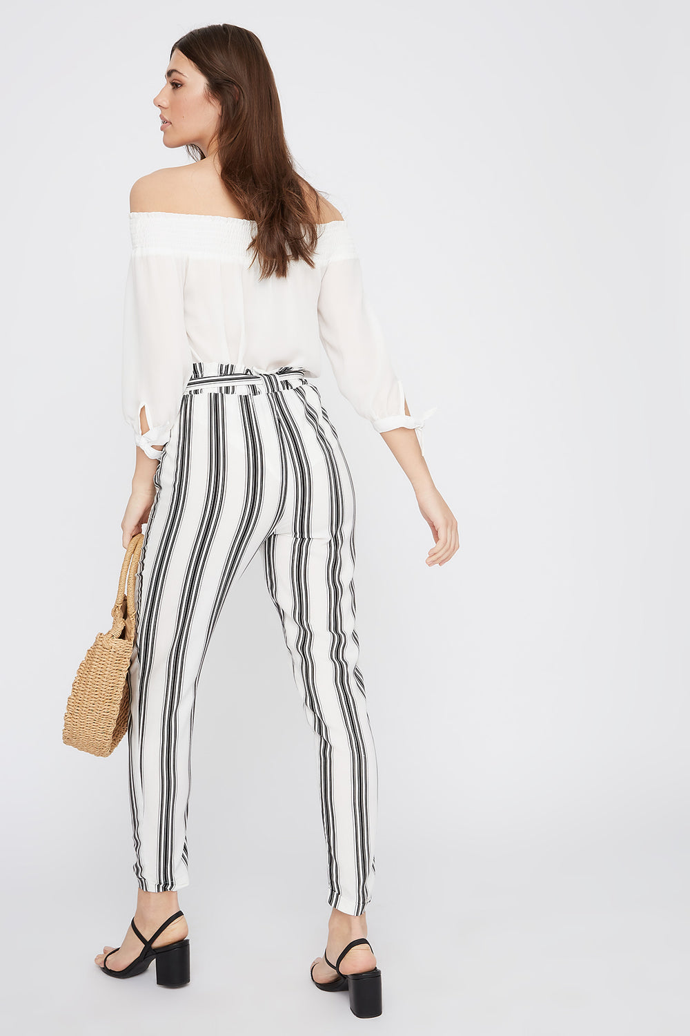 High-Rise Self-Tie Paperbag Cuffed Pant Black with White