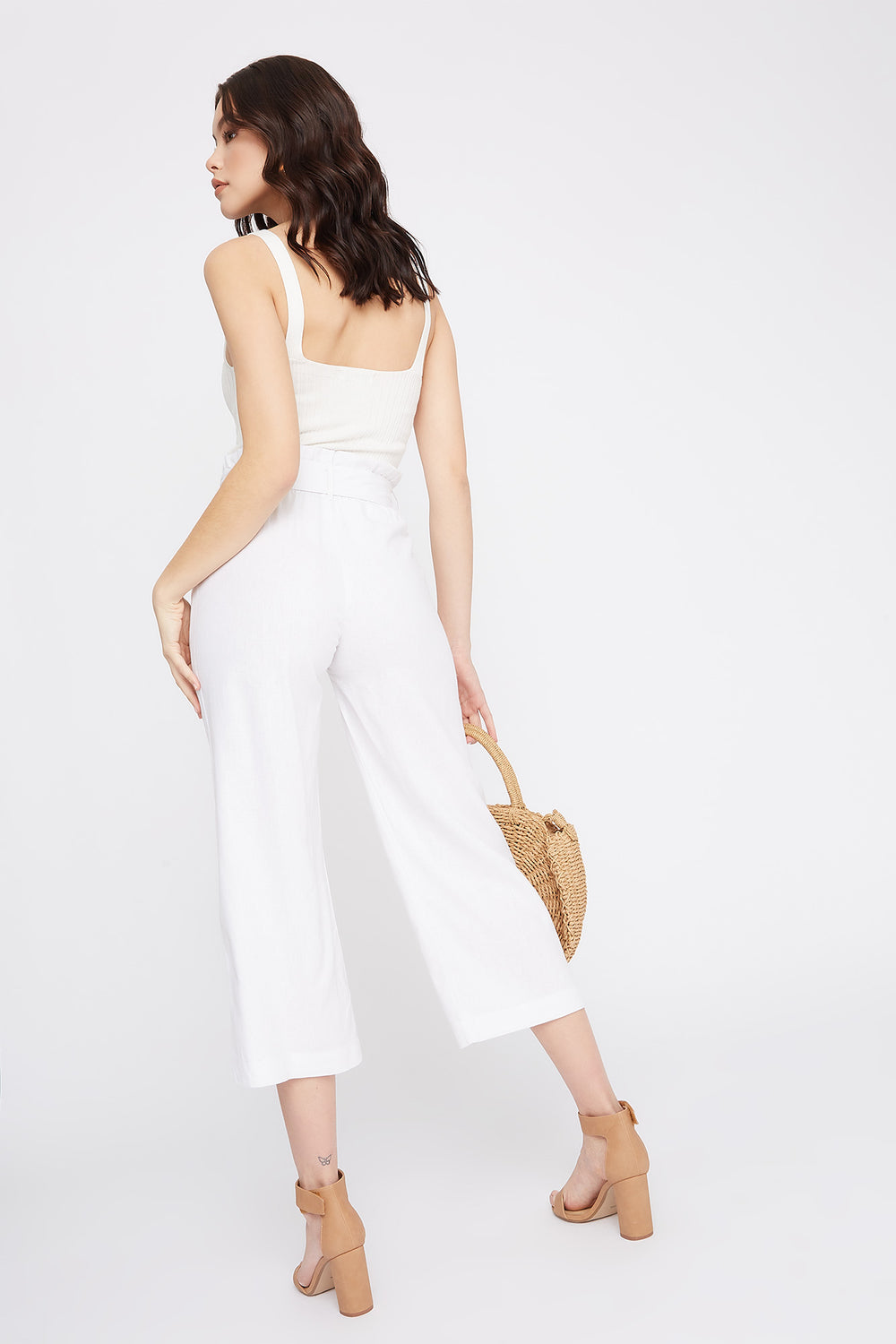 Linen High-Rise Paperbag Belted Culotte Pant White