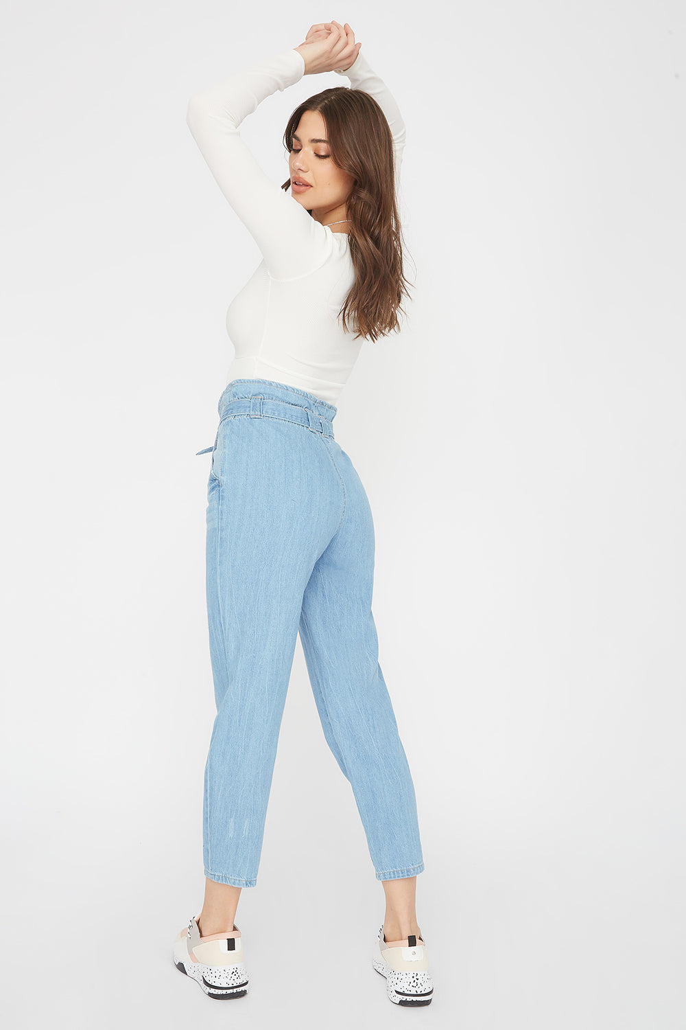Paperbag Self Tie Straight Jean Light Denim Blue