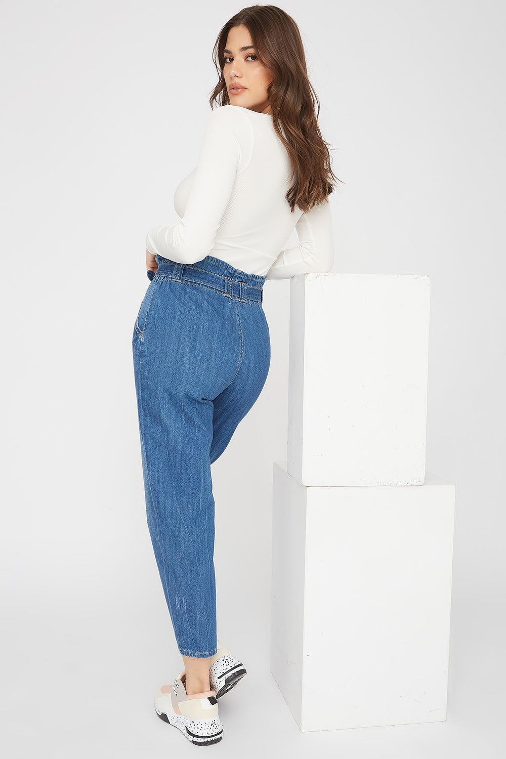 Paperbag Self Tie Straight Jean Medium Blue
