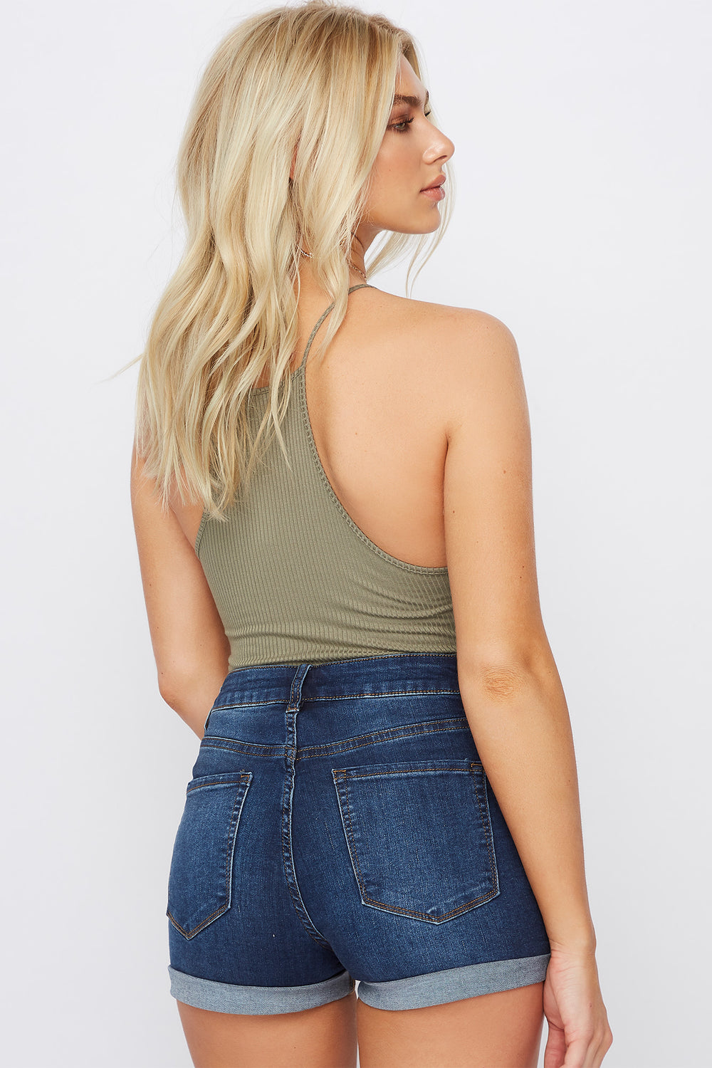 Miami High-Rise Cuffed Dark Wash Denim Short Denim Blue