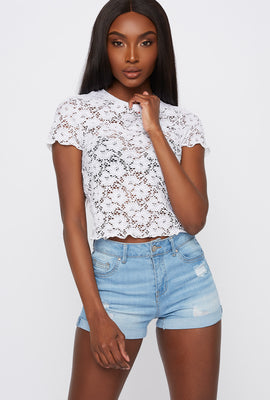 Butt, I Love You High-Rise Push-Up Distressed Denim Short