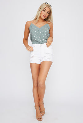 Chelsea Vintage Ultra High-Rise White Distressed Denim Short