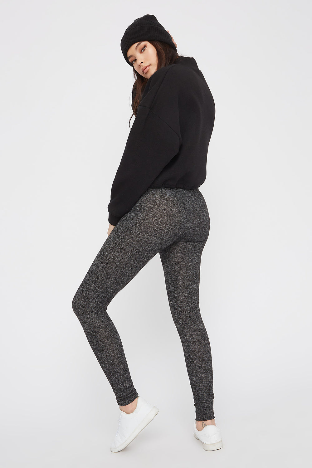 Soft Knit High-Rise Drawstring Legging Charcoal