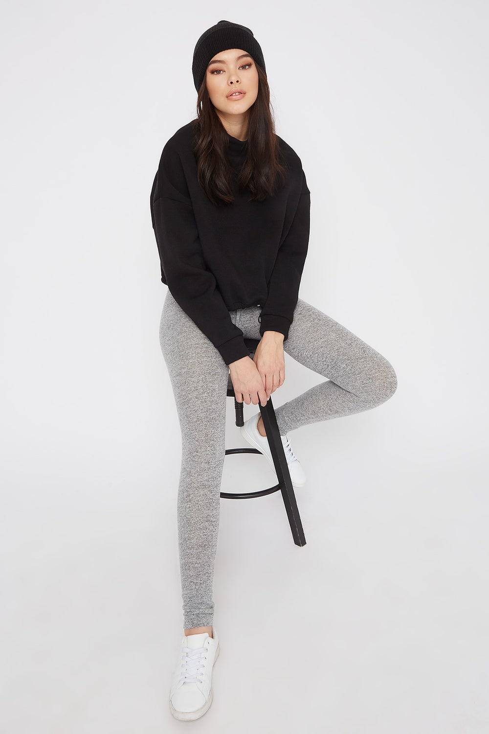 Soft Knit High-Rise Drawstring Legging Heather Grey