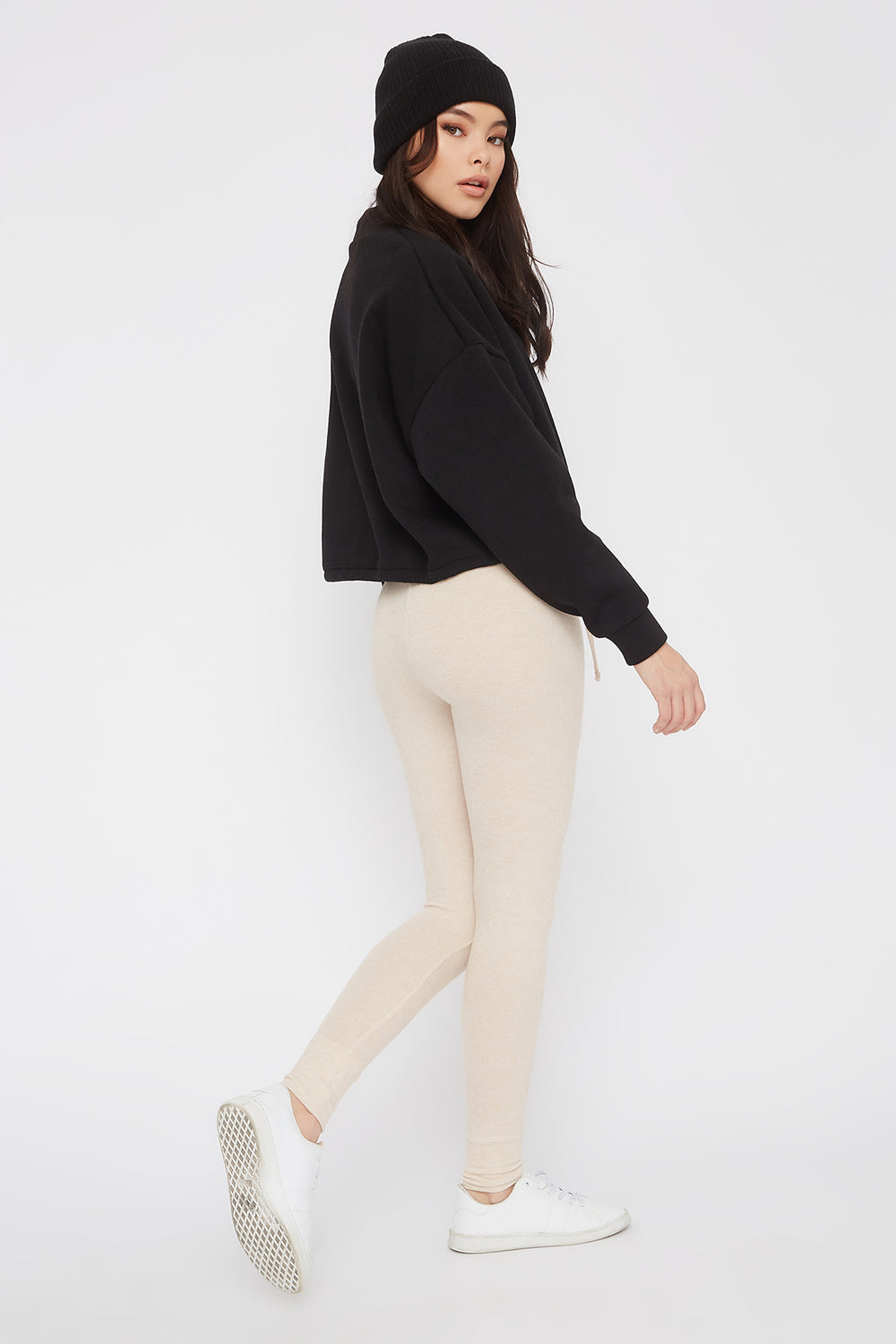 Soft Knit High-Rise Drawstring Legging Oatmeal