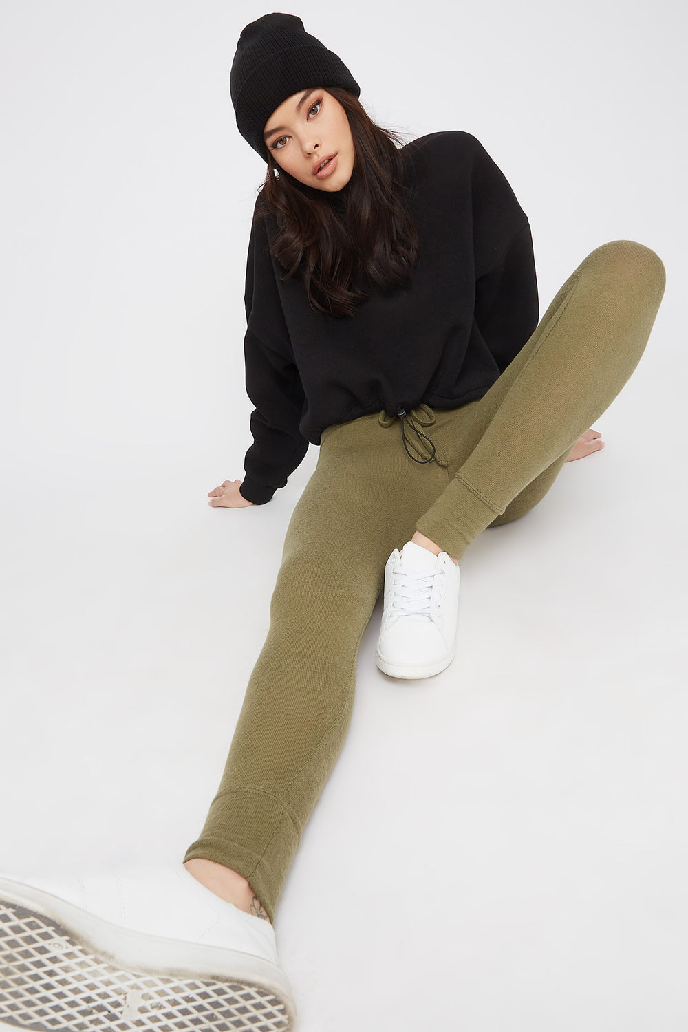 Soft Knit High-Rise Drawstring Legging Dark Green