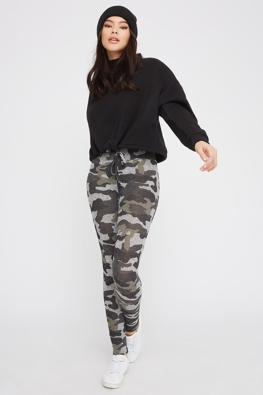 Soft Knit High-Rise Drawstring Legging Camouflage