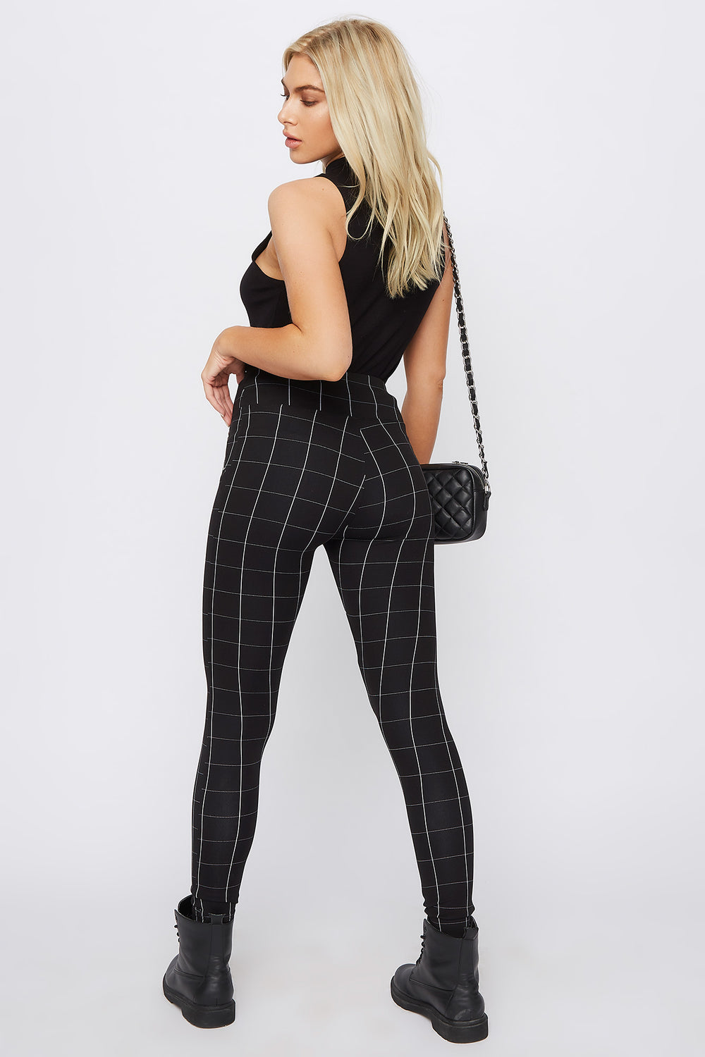Printed High-Rise Side Zip Legging Plaid