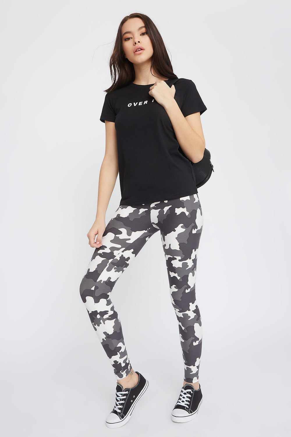 Camo Printed Basic Soft Legging Black with White