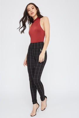 Plaid High-Rise Side Zip Legging