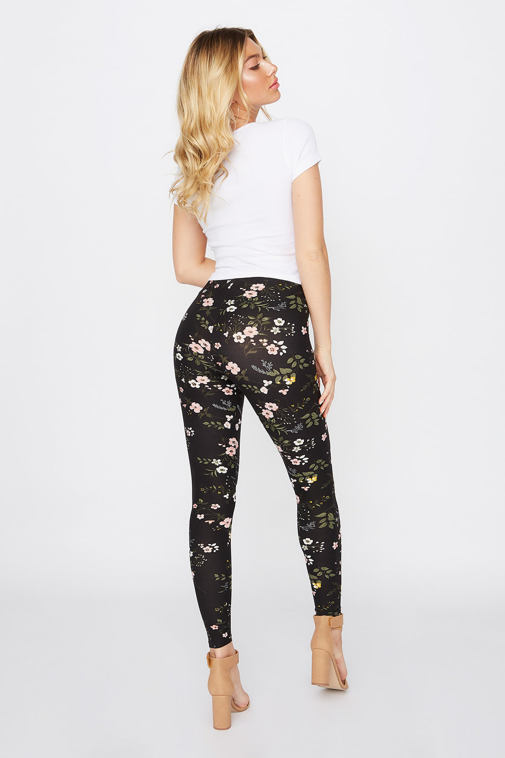 Rose Printed Basic Soft Legging Multi